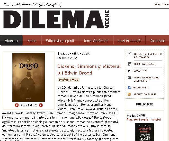 Dickens, Simmons şi Misterul lui Edwin Drood in Dilema Veche
