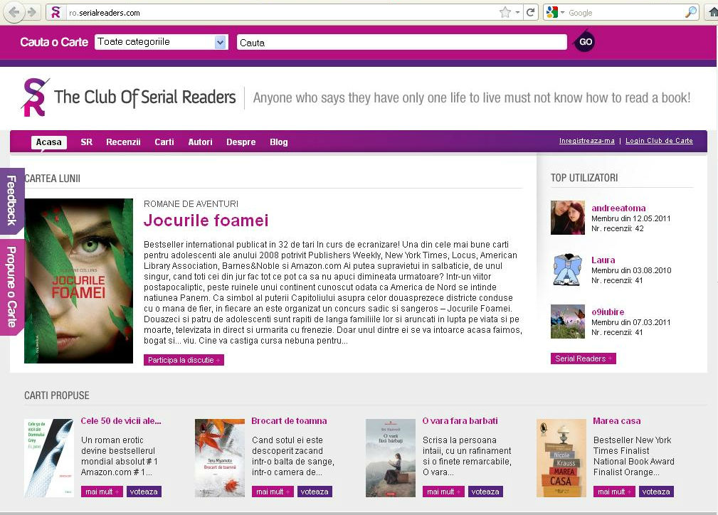 Jocurile foamei cartea lunii iulie 2012_The Club of Serial Readers