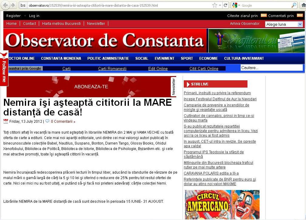 Nemira la mare Observator Constanta