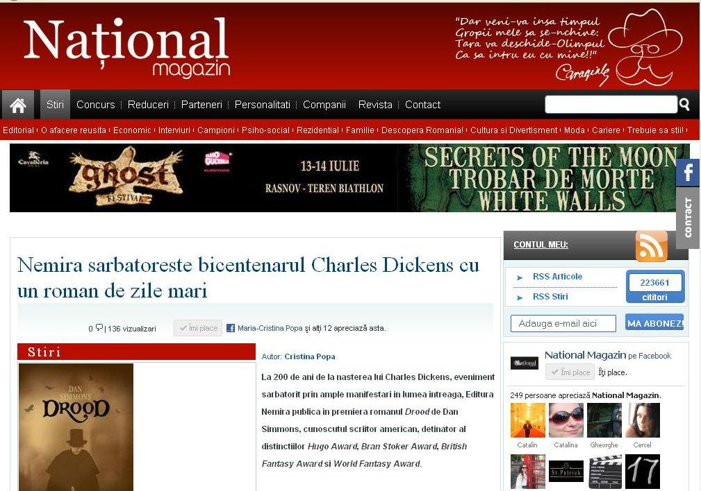 Nemira sarbatoreste bicentenarul Charles Dickens_National magazin