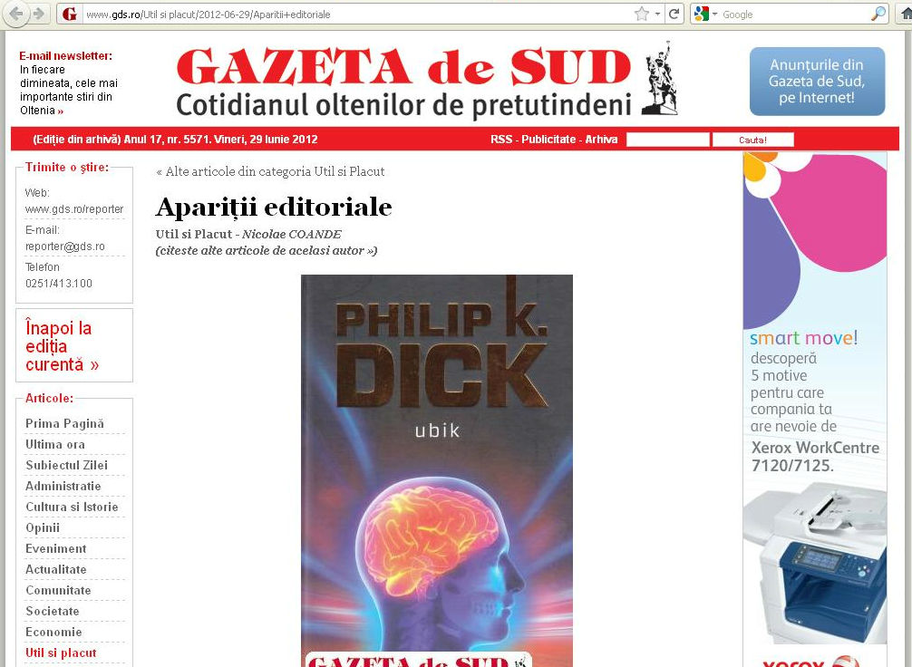 Philip K. Dick Ubik in Gazeta de Sud