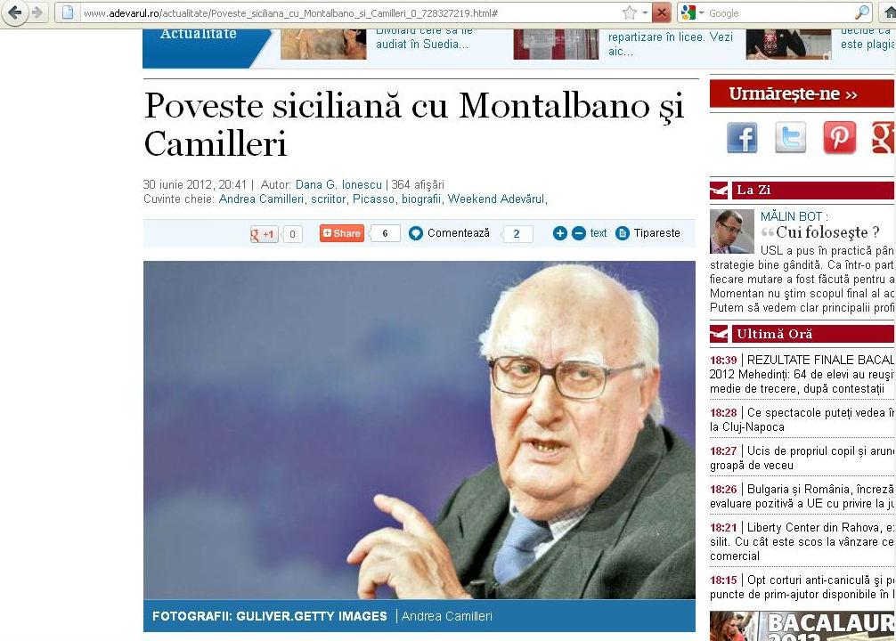 Poveste siciliana cu Montalbano si Camillieri