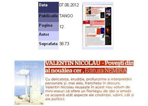 Povesti din al noualea cer de Valentin Nicolau_Tango