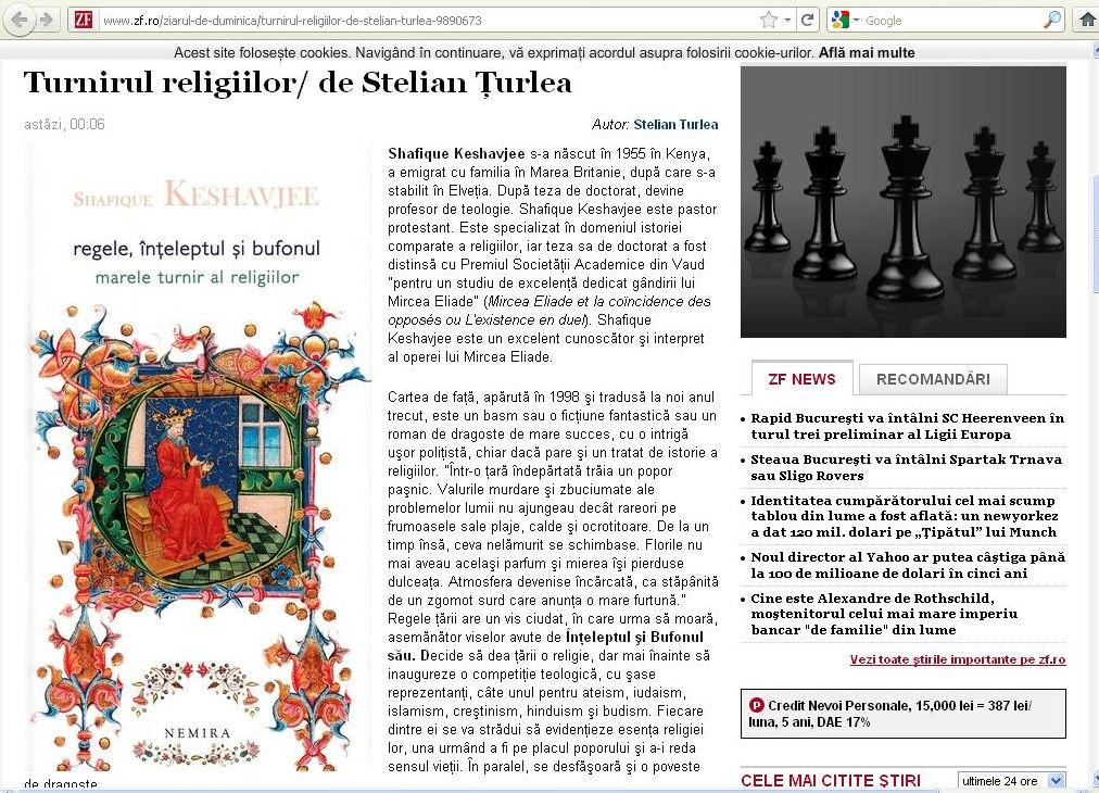 Shafique Keshavjee - Regele, înţeleptul şi bufonul. Marele turnir al religiilor. Editura Nemira.