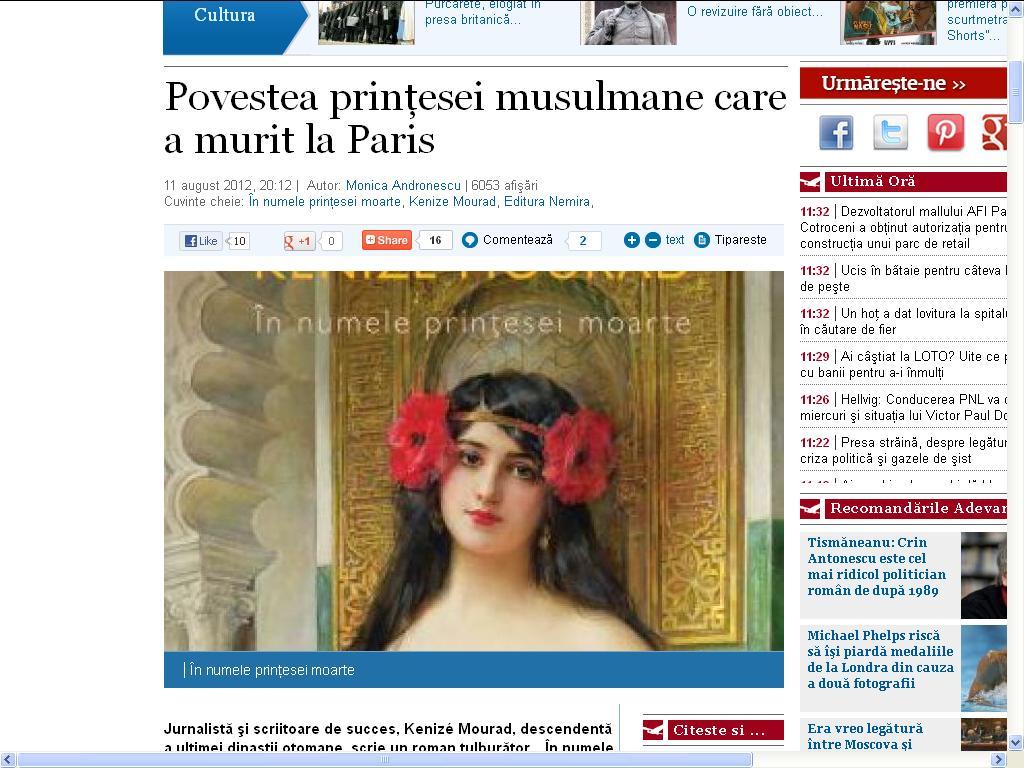 Povestea prinţesei musulmane care a murit la Paris