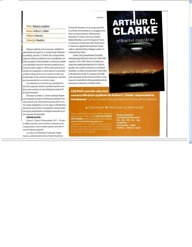 Concurs in revista Level_Arthur C. Clarke_Sfarsitul copilariei