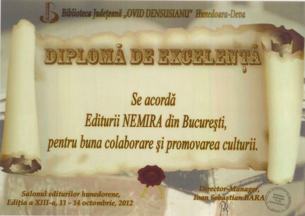 Diploma pentru Excelenta Nemira_Salonul Editurilor Hunedorene