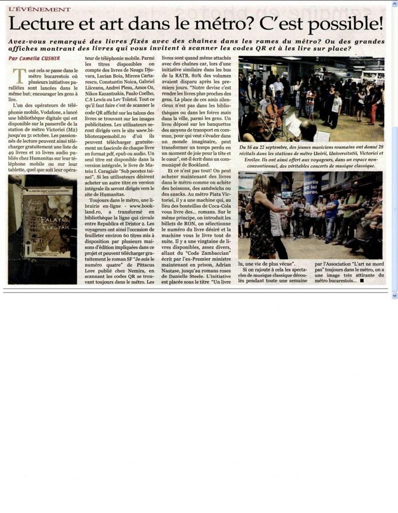 Lecture et art dans le metro_e-book Nemira la metrou