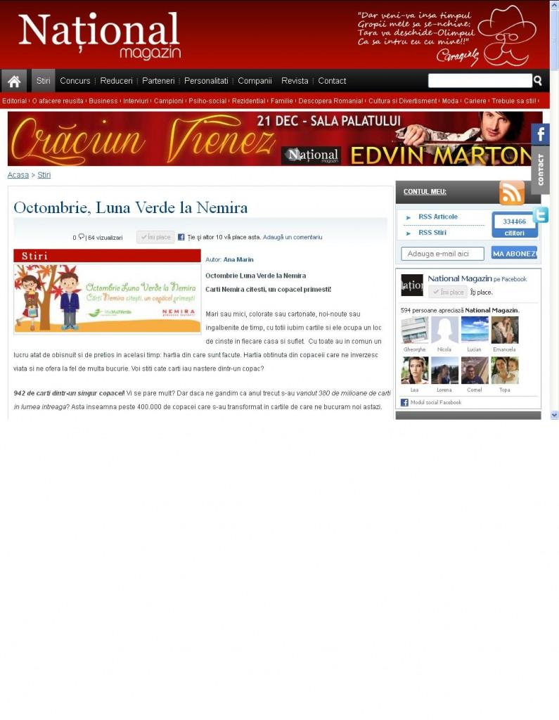 Octombrie - Luna verde la Nemira - National Magazin