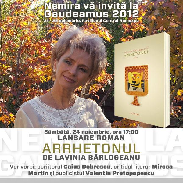 Invitatie Nemira_Lansare Arrhetonul_de Lavinia Barlogeanu_Gaudeamus 2012