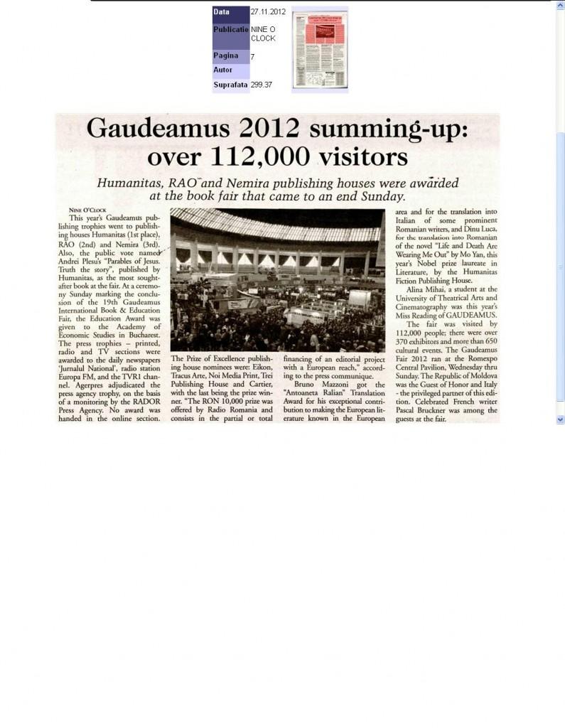 NINE O CLOCK_NEMIRA_GAUDEAMUS 2012