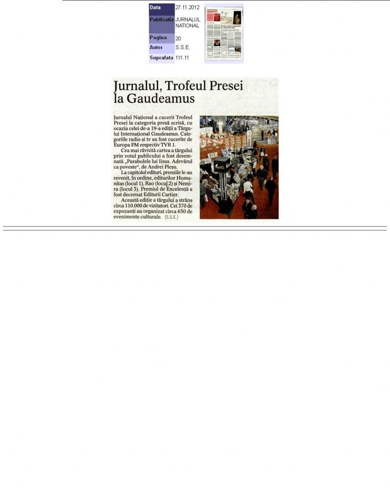Trofeul Presei si al editurilor la Gaudeamus 2012_Jurnalul National