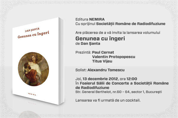 Invitatie Nemira_lansare Genunea cu ingeri_Dan Santa