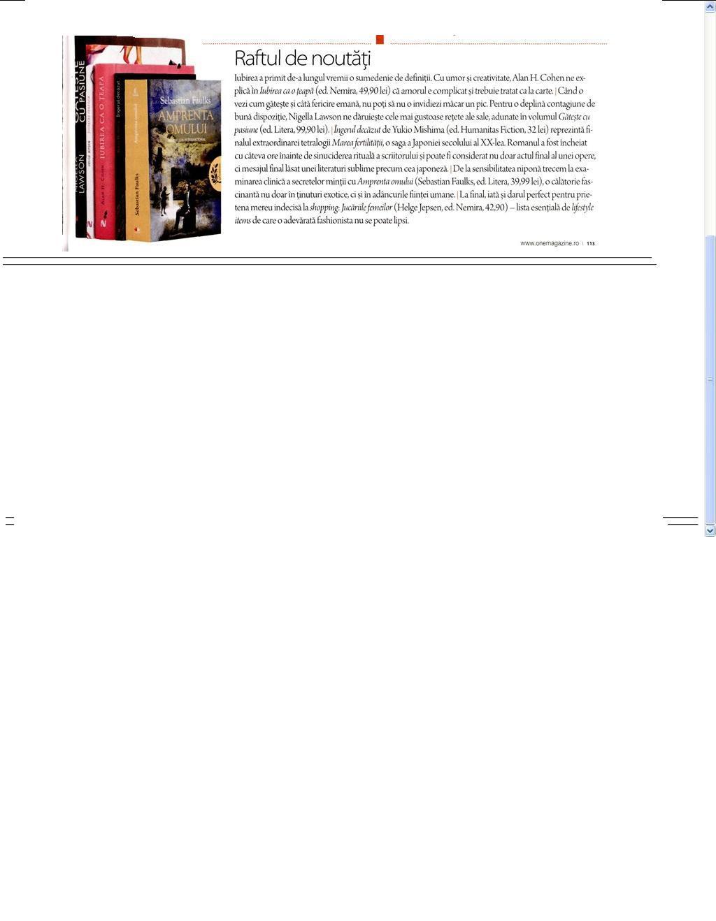 Raftul de noutati_OneMagazine
