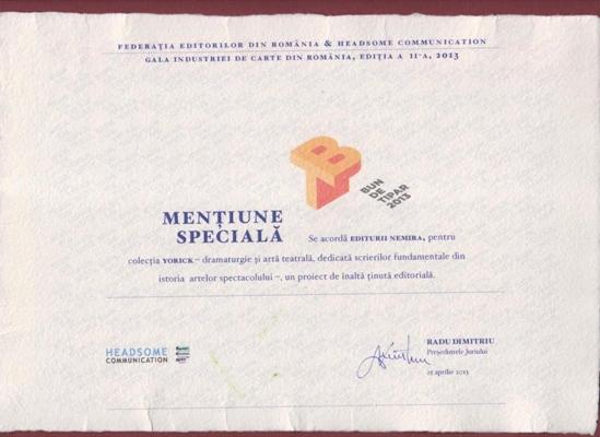 diploma Gala Industriei de Carte