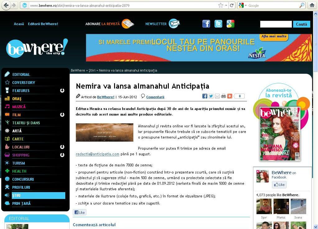 Nemira va lansa Almanahul Anticipatia_Revista Be Where!