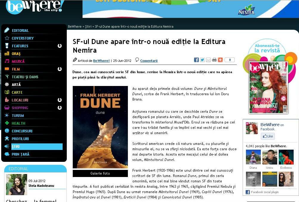 SF-ul Dune apare într-o nouă ediţie la Editura Nemira - Revista BeWhere