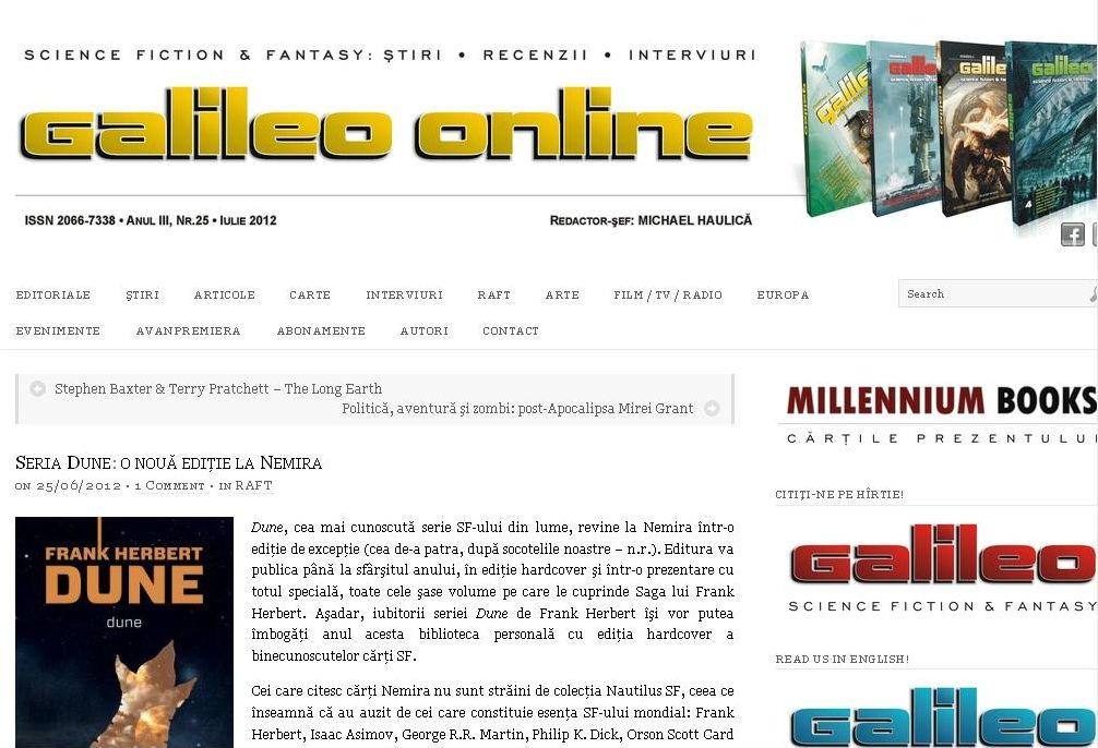 Seria Dune - prezentare in revista Galileo
