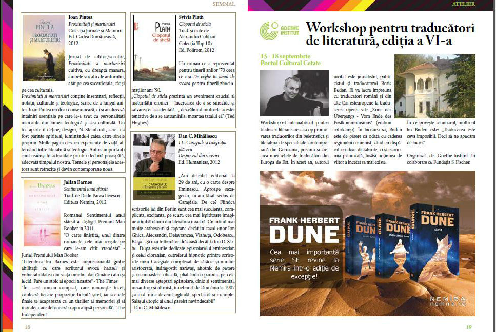 Julian Barnes & Dune in Revista Accente