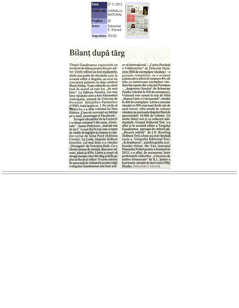 Bilant dupa Gaudeamus 2012_Jurnalul National