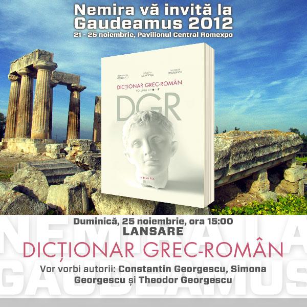 Invitatie Nemira_Lansare Dictionar grec-roman_Gaudeamus 2012