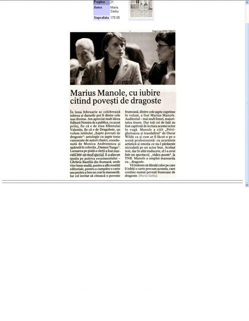 Marius Manole, citind povesti de dragoste_Jurnalul National